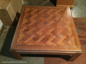 chevron, chalk painted, coffee table, upcycle, repurpose