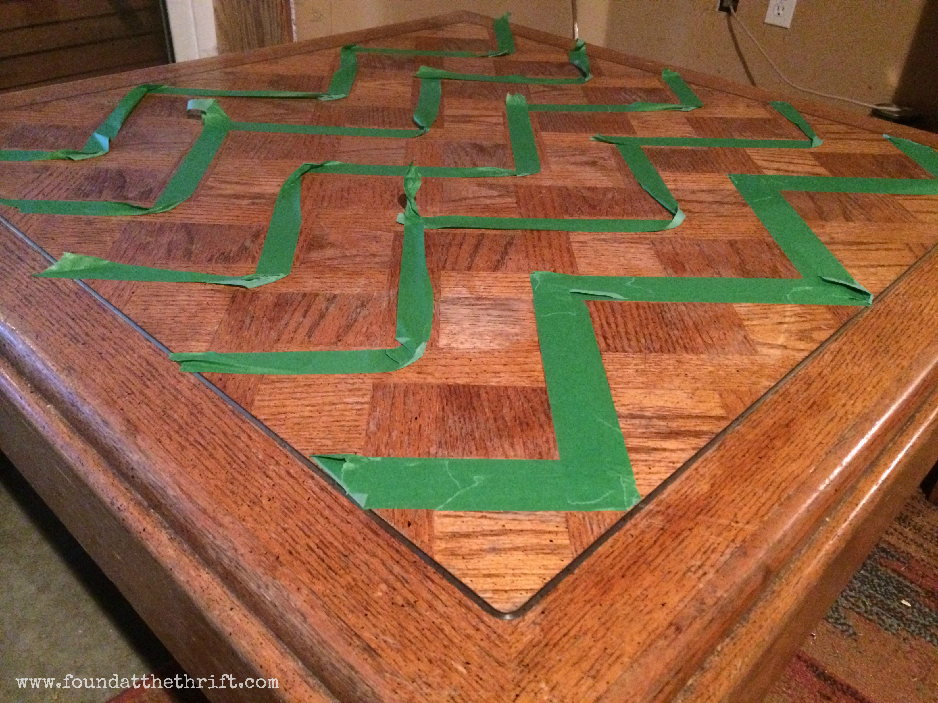 chevron coffee table – found at the thrift