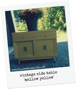 vintage, side table, harmony house, chalk paint, mellow yellow, DIY, upcycle