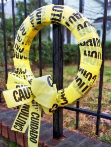 found at the thrift, DIY wreath, DIY halloween wreath, caution tape project, caution tape, halloween caution tape project, halloween caution tape DIY, DIY wreath, DIY halloween wreath,