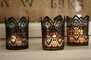 found at the thrift, lace covered candle, laced candles, spooky halloween candles, halloween candles, black and white candels, halloween DIY candle, DIY halloween decor, DIY halloween decoration, halloween decor, halloween decoration