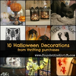 found at the thrift, 10 halloween decorations from thrifting purchases, halloween decor from thrifting purchases, thrifting for halloween decor, thrifting for halloween decor, painted wine glasses, bloody towels for the bathroom, cakestand turned skull holder, wrapping paper covered light switch, haunted picture frames, caution tape halloween wreath, candle sticks for displaying pumpkins, sharpie painted halloween plate, gothic lace candles, black ceramic cats
