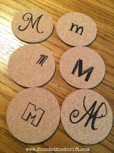 found at the thrift, personalized coaster, personalized coasters, DIY personalized coasters, DIY coasters, DIY coaster project, personalized coasters, monogrammed coasters, DIY, DIY coaster project