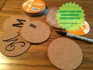 found at the thrift, create your own, create your own personalized drink coasters, create your own personalized coasters, DIY cork coasters, DIY project, cork coasters,upcycle coasters,