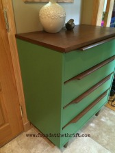 green dresser, found at the thrift, thrift store find, thrift stop shopping, pop some tags, upcycled, upcycled furniture, furniture, DIY furniture, new project, project dresser, stained dresser, chalk paint, chalk painted dresser, thrifting, thrift