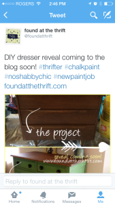 inspiration, found at the thrift, teaser, project teaser, DIY, upcycled dresser, found at the thrift, thrifting, thrift, in progress, the reveal, twitter, twitter teaser, tease