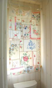 vintage linens, found at the thrift, vintage, linens, handkerchiefs, vintage linens into curtain
