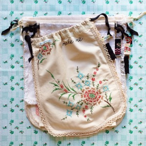 sack, found at the thrift, drawstring, drawstring bag, DIY, sewing project, vintage drawstring bag, thrift store find