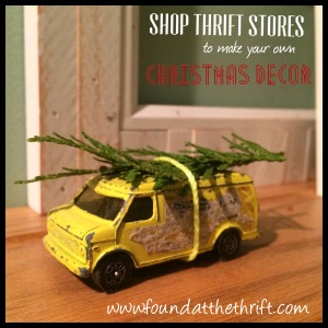 found at the thrift, thrifting, thrift store find, easy christmas decor, christmas decor, xmas decor, vintage truck, vintage truck with tree, DIY, DIY christmas truck, car with christmas tree on roof, tree on roof